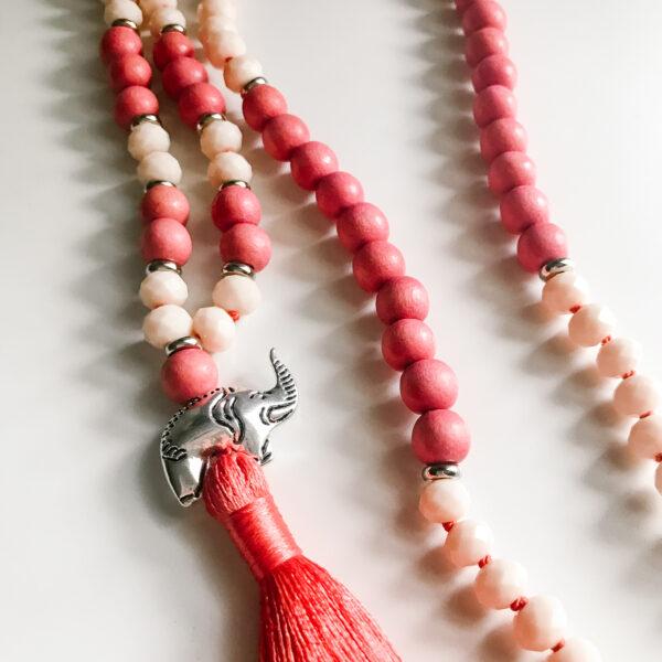 Pink Elephant Mala Necklace